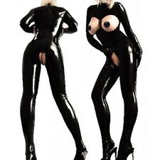 Sexy Damen Body Catsuit Ganzanzug Lack Leder Clubwear Busenfrei Bodysuit Schwarz