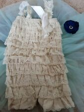 Baby girl vintage toddler lace petti romper photo prop christening summer