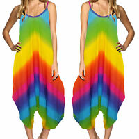 Ladies Tie Dye Rainbow Summer Festival Strappy Baggy Boho Harem Romper Jumpsuit