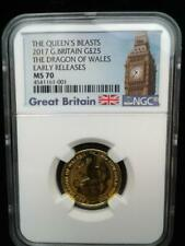 2017 1/4 oz .999 Gold Great Britain Queens Beasts Dragon of Wales ER MS 70