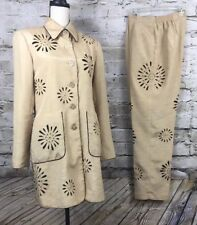Womens Way Pants Suit Size 12 Color Taupe With Eyelet Flowers