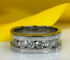 Men's Engagement Wedding Ring 3.5 Ct Diamond 6 Stone Channel Set 14K White Gold