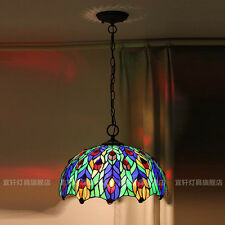 Tiffany Style Peacock Stained Glass Light Chandelier Ceiling Lamp Pendant 15.7""