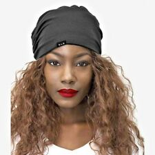 Hat Satin Lined Beanie Cap Versatile Stylish Stretch Satin Poly Knit Black 42a721ad8a3