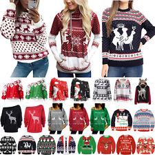 DE Damen Weihnachtspullover Pulli Weihnachtsmann Lockersitzend Sweater Christmas