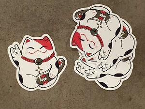 Lucky Cat Style sticker pack x5, Cartoon, Skateboard