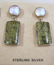 Sterling Silver Green Stone and Pear Post Earrings