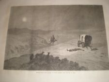 A Russian stage coach hit by Steppe robbers near Sea of Aral 1874 old print rf G