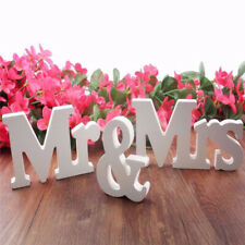 White Mr and Mrs Letters Sign Wooden Standing Top Table Wedding Decorations
