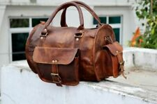 Goat Leather Brown Gym Duffle Travel Luggage Genuine Men Bag Bags Vintage 12""