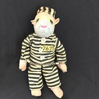 Folk Art Doll Handmade Cloth Jail Bird Chain Gang HandCuffs Painted Face
