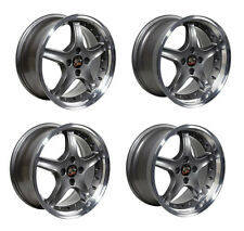 """Ford Mustang Wheel Set, 17"""" 1995 Cobra R Style 4 Lug In Anthracite Staggered"""