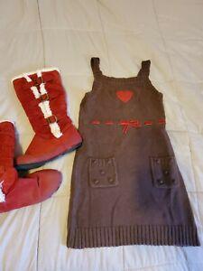 GYMBOREE MOUNTAIN CABIN DRESS EUC SZ 6 BOOTS SZ2 GIRLS