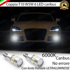 COPPIA LUCI POSIZIONE T10 6 LED CANBUS CON LENTE AUDI TT 8J NO ERROR BIANCO