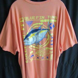 Columbia 4XT Tee Shirt Fishing Blue Fin Tuna Orange