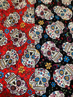 2 FAT QUARTERs 2 SKULLS DUO 1 RED 1 BLACK 100%COTTON DAY OF THE DEAD HALLOWEEN
