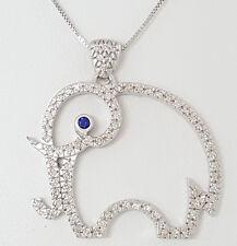 "0.90 ct 18K White Gold Round Diamond / Sapphire Elephant Pendant / Necklace 16"""