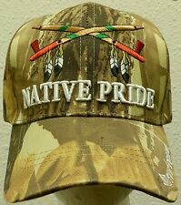 CAMO LEAF INDIAN AMERICAN NATIVE PRIDE FEATHERS CALUMET PEACE PIPE TRIBE CAP HAT