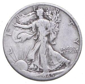 XF+ 1945-D Walking Liberty 90% Silver US Half Dollar - NICE COIN *740