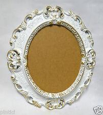 PORTAFOTO OVALE BIANCO-ORO ANTICO BAROCCO CORNICE PORTAFOTO 45x37 cornice a specchio NUOVO