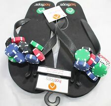 Hotflops Sports Flip Flops Slip On Beach Sandals Black w/ Poker Chips Adult 6-7