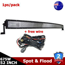 Curved 675W LED Light Bar 52inch 7D+Tri Row Combo Offroad Driving Fog Car Lamp