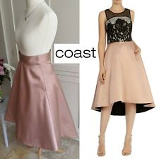 COAST NUDE CHAMPAGNE XENIA SATIN DIP HEM HI LO FULL MIDI SKIRT UK 10 NEW TAGS