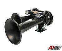 Truck Air Horns TGV Train Airhorn Twin Black Trumpets 24 Volt