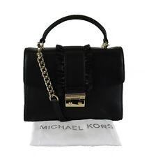 **MICHAEL KORS SLOAN Double Flap Top Handle Black Leather Shoulder Bag Msrp $268