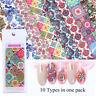 10pcs/set Colorful Holographic Starry Transfer Nail Stickers Flower Nail F_ÁÍ