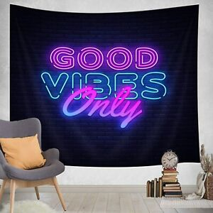 Motivational Inspirational Quote Tapestry, Good Vibes Only Neon Sign Tapestry