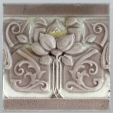 Art Nouveau Grey lilac flower embosed majolica tile original circa 1900