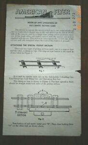 Original AMERICAN FLYER Instr. for Hook-up & Operation of Automatic Action Cars