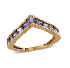 1.25ct Tanzanite Wishbone Ring in 14k Gold Overlay 925 Sterling Silver - Size S