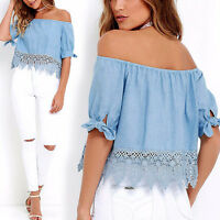 Fashion Women Summer Loose Casual Beach Off Shoulder Shirt Ladies Top Blouse Tee