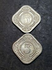 2 Coin Lot. 1943 Curacao 5 Cent Coins #3