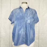 Calvin Klein Jeans Women's M Top Chambray Denim Blue Acid Wash Tie Dye Button #a