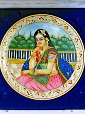 """Marble Stone decor plate India woman Pietra Dure inlay art white gold 8-3/4"""" (A)"""