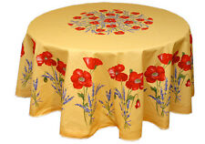 "70"" Round COATED Provence Tablecloth - Poppies Yellow"