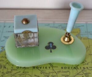 Vintage inkwell and fountain pen holder office mid century desk writing HPT1