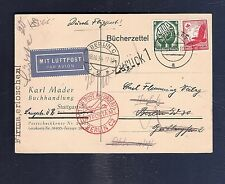 25 Germany 1934 Postcard Air Mail Stuttgart Berlin Zuruck Return