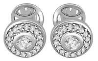 Cluster Stud Earrings Round Cut Diamond I1 G 0.50 Carat 14K White Gold Pave Set