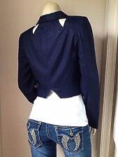 NWT Wes Gordon x Jones New York Deep Blue Bolero Jacket 100% Linen Size 4!