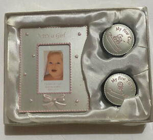 Baby Girl Set with Metal Photo Frame First Curl And First Tooth Boxes New WOW