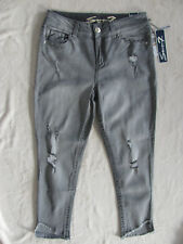 Seven7 Ankle Skinny Jeans-Destroyed/Embroidery-Shark Bite -Grey-Size 10-NWT $69