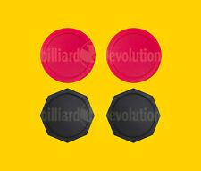 "Set of 4 Air Hockey Pucks- 2 Red Round + 2 Black Octagon Pucks - 2-1/2"" Diameter"