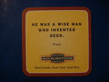 """Beer Coaster Collectible ROCK BOTTOM """"He Was A Wise Man Who Invented Beer"""" PLATO"""