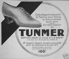 PUBLICITÉ 1923 TUNMER ÉLÉGANTE CHAUSSURE DE FOOTING POUR DAMES - ADVERTISING