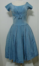 Vintage 1950's Powder Blue Silk Crinoline Pleated Drop Waist Swing Bubble Dress