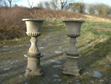 Two Tall Victorian Style Urns Garden Statue Planter Urn